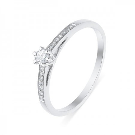Solitaire accompagné diamants   en or blanc 9 carats - Tiffy