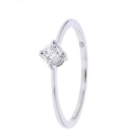Solitaire diamant simple avec corps fin ét délicat en or blanc 9 carats - Promesse