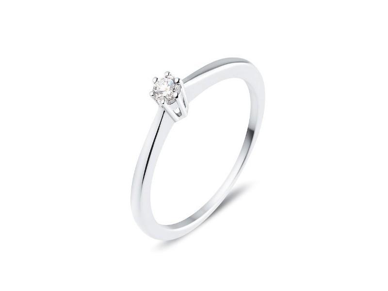 e08ed034e1b Solitaire simple classique diamant monté six griffes en or blanc 18 carats  - Galia