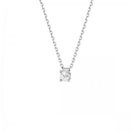 Collier clou diamant monté sur quatre griffes  en or blanc 18 carats - Carrie