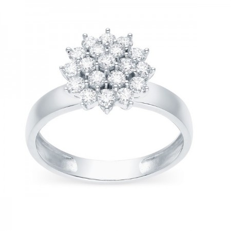 Bague chou diamants sertis griffes  en or blanc 18 carats - Oda