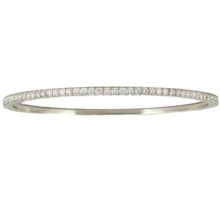 Bracelet jonc rivière de diamants  en or blanc 18 carats - Trudie