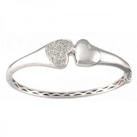 Bracelet cœur pavé diamants en argent - Monte Carlo