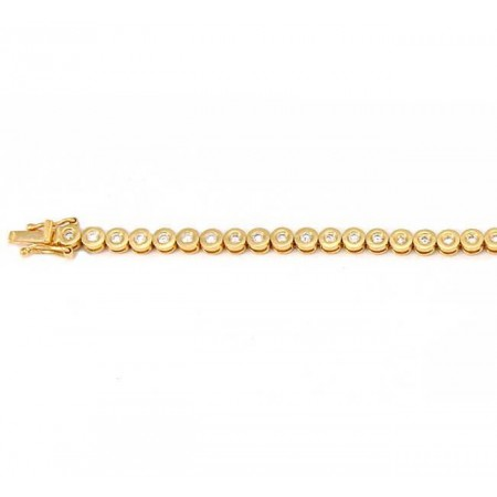 Bracelet tennis pneus diamants en or jaune 18 carats - Saundra