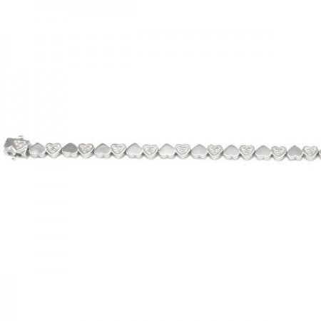 Bracelelet tennis cœurs diamants en argent - Saundra