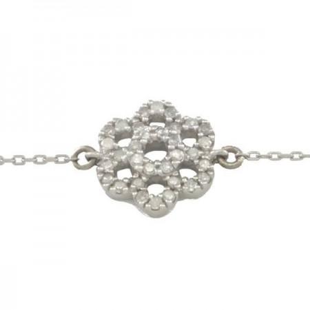 Bracelet fleur pavé diamants en or blanc 9 carats - Susen