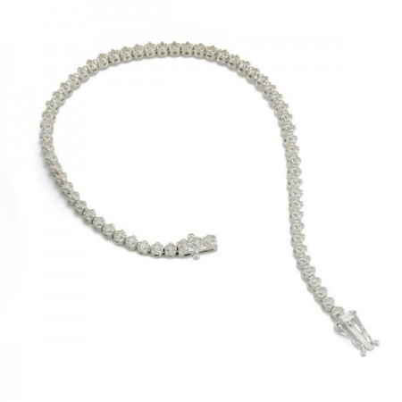 Bracelet tennis pneus diamants en or blanc 9 carats - Saundra
