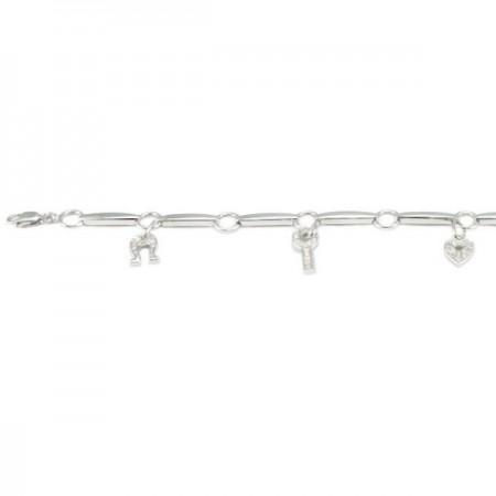 Bracelet à charms porte bonheur avec diamants en argent - Yvanka