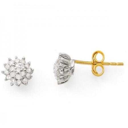 Boucles d'oreilles chou diamants  en or jaune 18 carats - Eve