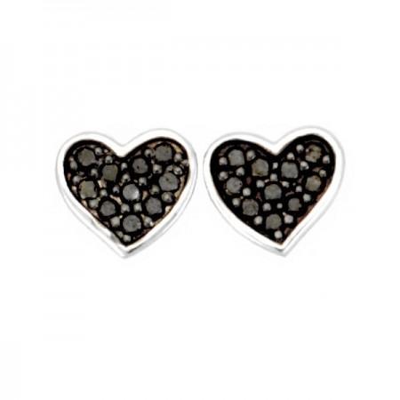 Boucles d'oreilles coeurs diamants noirs et blancs en argent - Cœur