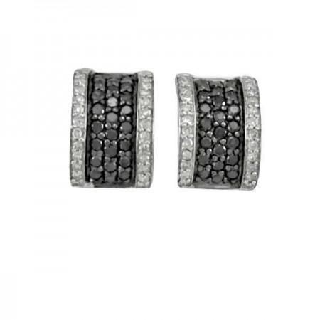 Boucles d'oreilles pavéS diamants noirs  en argent - Flammen