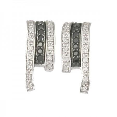 Boucles d'oreilles diamants noirs  en argent - Gaétane