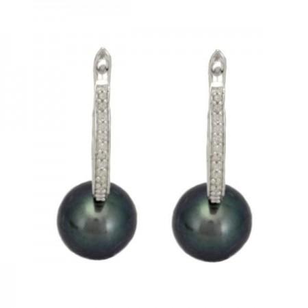 Boucles d'oreilles avec perles noires et diamants  en argent - Kasia