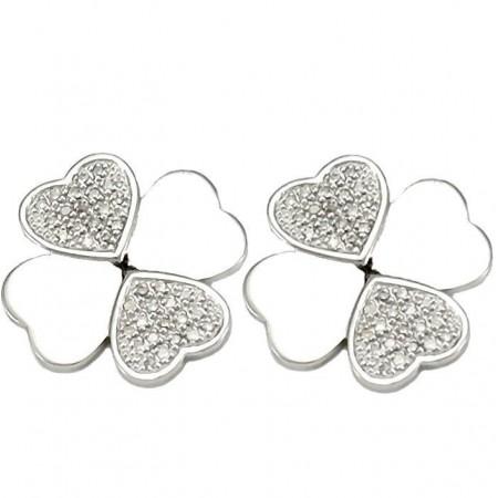Boucles d'oreilles coeurs pavés diamants  en argent - Cœurs en fol