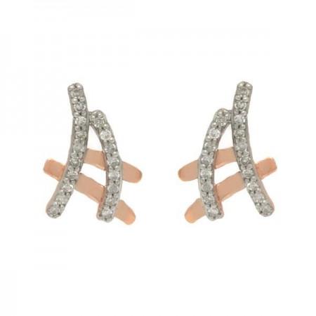 Boucles d'oreilles Insolence diamants détails en rose en or blanc 9 carats - Giana