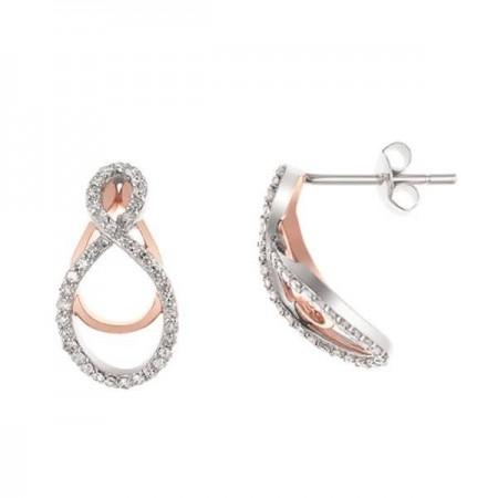 Boucles d'oreilles Insolence diamants détails en rose en or blanc 9 carats - Gaya