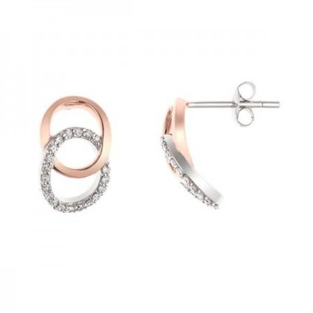 Boucles d'oreilles Insolence diamants détails en rose en or blanc 9 carats - Stella