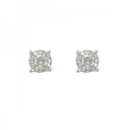 Boucles d'oreilles solitaires accompagnés  en or blanc 18 carats - Gracia