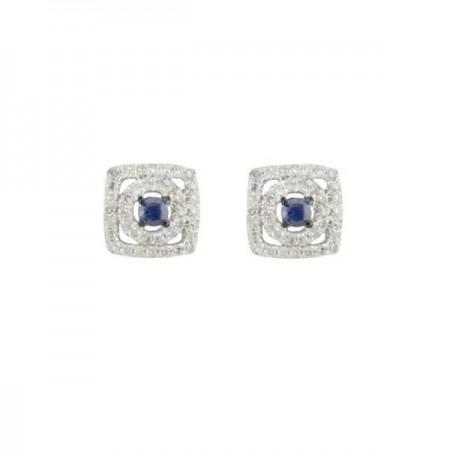Boucles d'oreilles saphirs entourages carrés de diamants en or blanc 18 carats - Alevtina