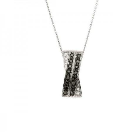 Collier avec pendentif rails croisés diamants noirs et blancs en argent - Josephine