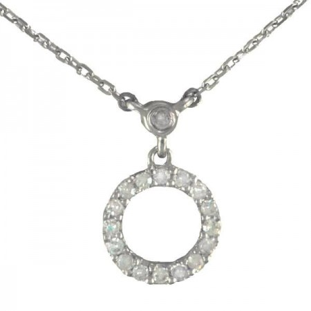 Collier rond pavé diamanté en or blanc 9 carats - Carry