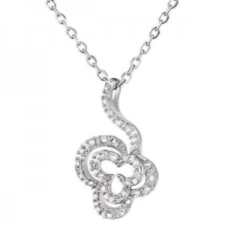 Collier forme fleur avec diamants en or blanc 9 carats - Monte Carlo