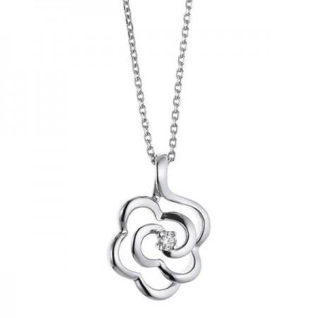 Collier fleur avec diamant  en or blanc 9 carats - Monte Carlo