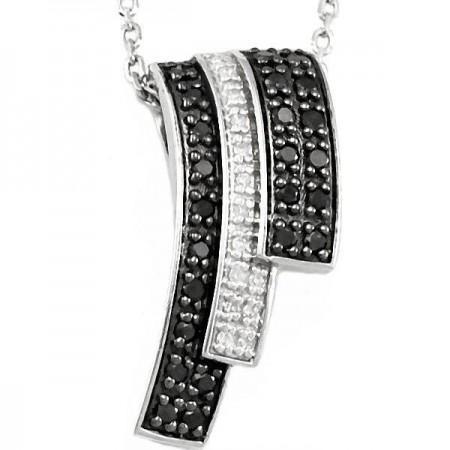 Collier escalier diamants noirs en argent - Didrika