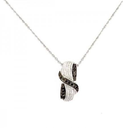 Collier ruban  diamants noirs  en argent - Doltza