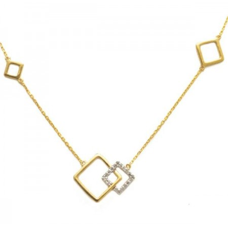 Collier motif carré diamants en or jaune 9 carats - Ekika