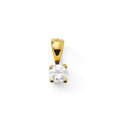 Pendentif puce diamant 4 griffes  en or jaune 18 carats - Kaleria