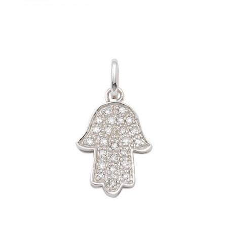 Pendentif main de fatima pavée diamants  en or blanc 18 carats - Fatima