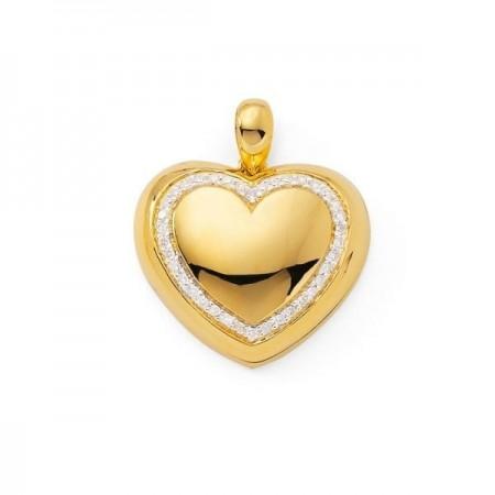 Pendentif coeur medaillon avec des diamants  en or jaune 18 carats - Kirima