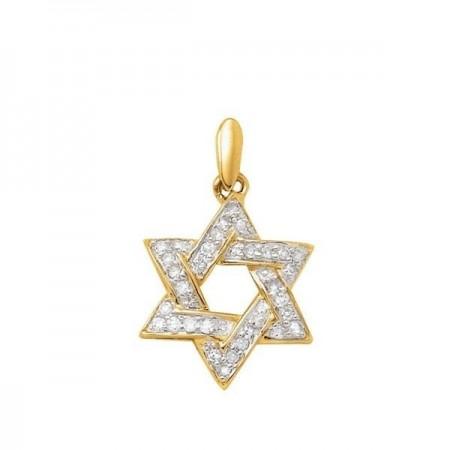 Pendentif étoile pavée diamants en or jaune 18 carats - David