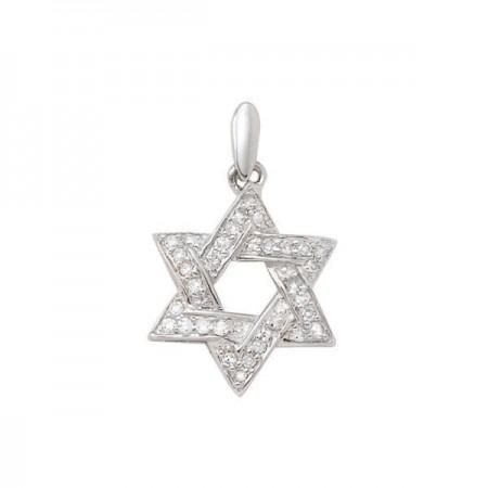 Pendentif étoile pavée diamants en or blanc 18 carats - David