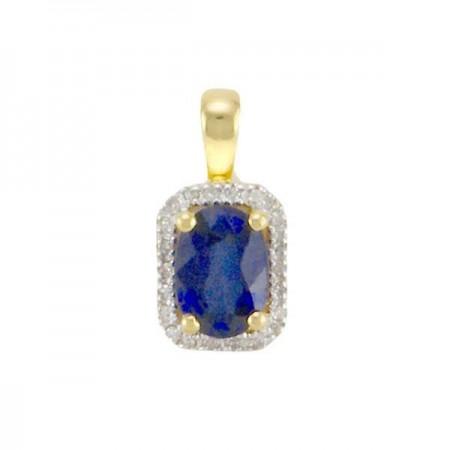 Pendentif saphir entourage de diamants  en or jaune 18 carats - Metouka