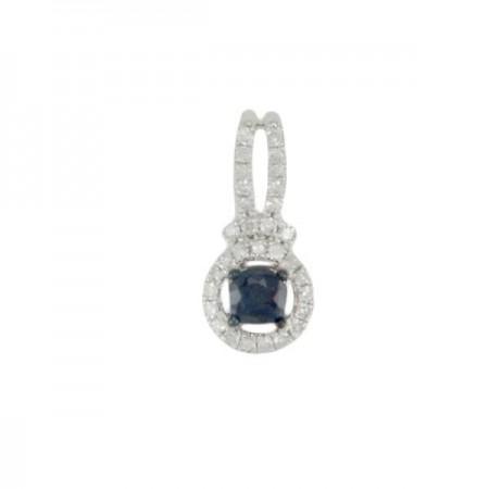 Pendentif saphir entourage de diamants  en or blanc 18 carats - Agnia