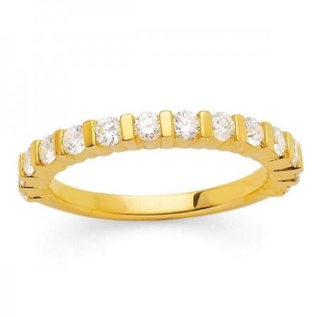 Demi-alliance diamants sertis entre barrettes  en or jaune 18 carats - Eliana