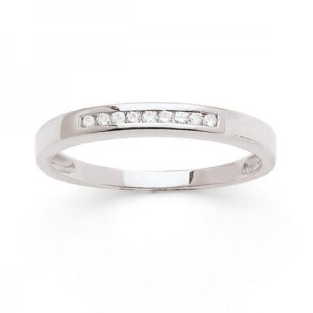 Demi-alliance diamants sertis en rail en or blanc 18 carats - Ederra