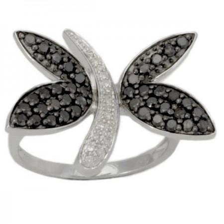 Bague papillon pavé de diamants noirs et blancs en argent - Butterfly