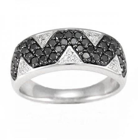 Bague triangles avec diamants noirs et blancs en argent - Zig zag
