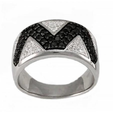 Bague triangles avec diamants noirs et blancs en argent - Véronia