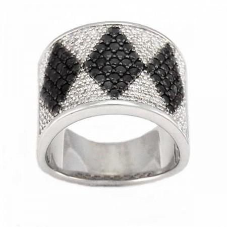 Bague losanges en diamants noirs et blancs en argent - Estie