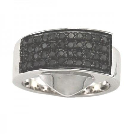 Bague pavé diamants noirs  en argent - Naama