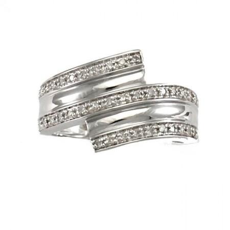 Bague pavée de diamants en argent - Earine