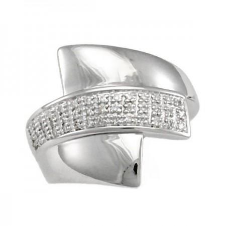 Bague pavé diamants rhodié en argent - Erine