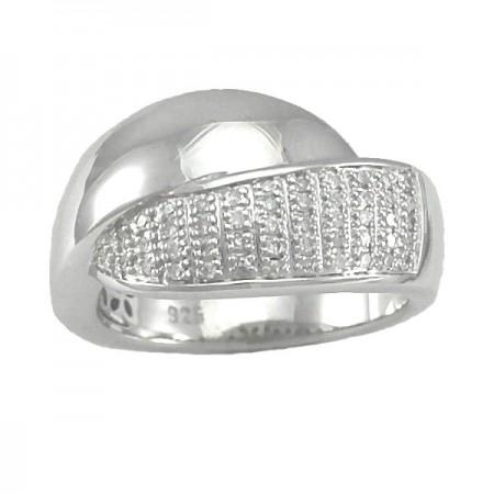 Bague croisée avec diamants en argent - Ginnie