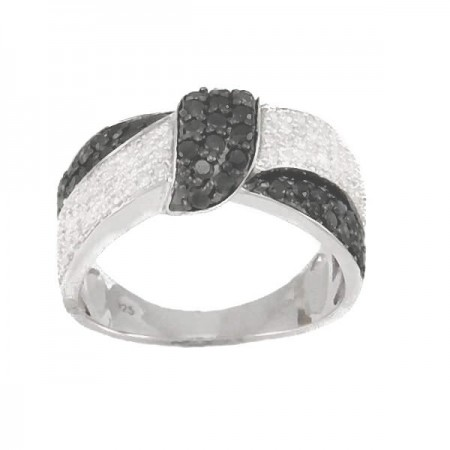 Bague ruban diamants noirs  en argent - Juana