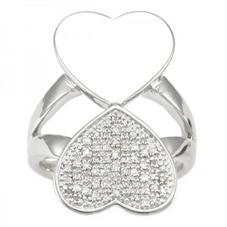 Bague jeu de coeurs en diamants  en argent - Cœurs en fol
