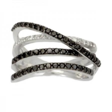 Bague 4 rangs avec diamants noirs et blancs en argent - Fiena